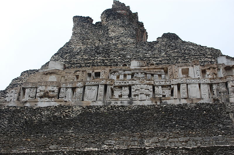 Carvings on Xunantunich pyrimid El Castillo